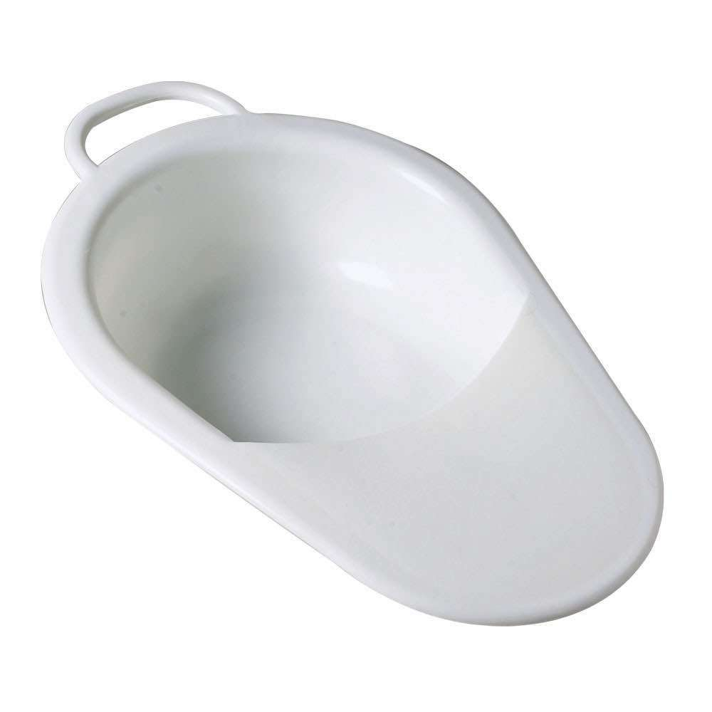 Image of a slipper bed pan with lid