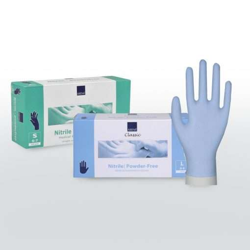 Boxes of disposable nitrile gloves