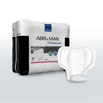 Shaped incontinence pad for men Abena