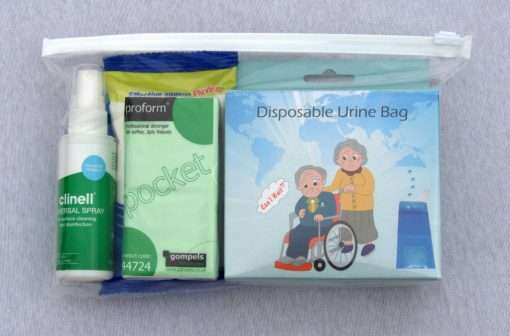 Bag of items in the Good2Go toilet pack
